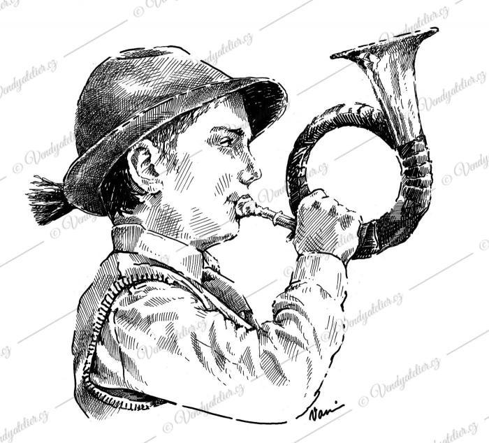 Myslivecký trubač na lesnici