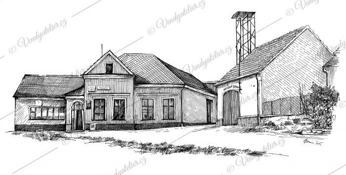 Dobřínsko, perokresba jedné z nejstarších budov a hasičská zbrojnice