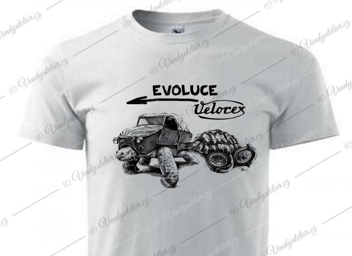 Velorex evoluce - bílé triko