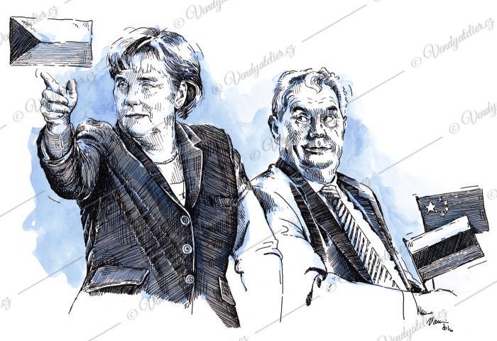Angela Merkelová a Miloš Zeman