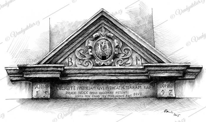 Atika nad vchodem do radnice v Moravských Budějovicích