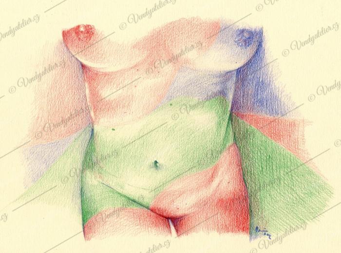 Akt - akvarelové pastelky