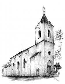 Kostelík v obci Rybníky - perokresba