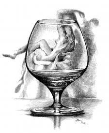 Drink - pohled na ženu