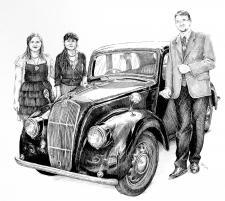 Autoveteránská rodina - narozeninový dárek