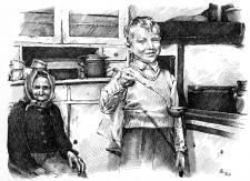 Pohled do jedné staré kuchyně - perokresba