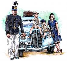 Rodina  - první republika, auto Popular